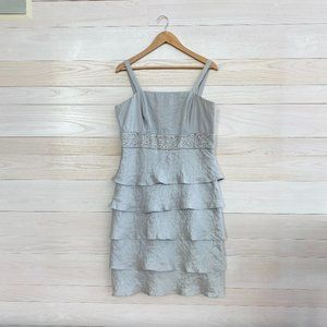 R&M Collection Silver Ruffle Evening Dress